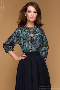 DM00234DB dress Navy MIDI length with a printed top and a batwing sleeve