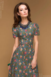 "DM00146TE dress length Maxi Navy blue floral print, sleeve ""flashlight"""