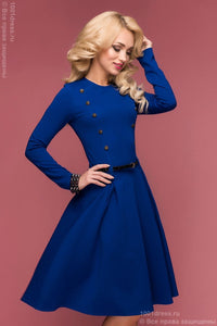 DM00469BL cornflower blue dress length mini with two rows of buttons