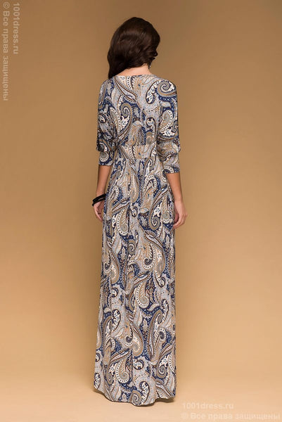 DM00486GY Maxi- length drey dress with floral print and sleeves 3/4