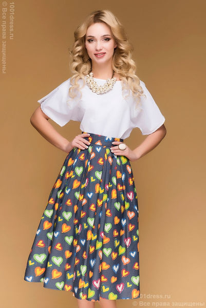 DM00406DB skirt dark blue MIDI length print