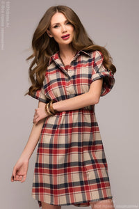 Dress-shirt DM00526RB in red and blue checks