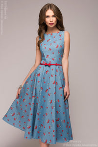 "DM00532B blue dress length MIDI with print ""cherry"""