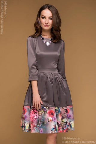 Dress DM00374MO mocha 3/4 sleeve and full skirt