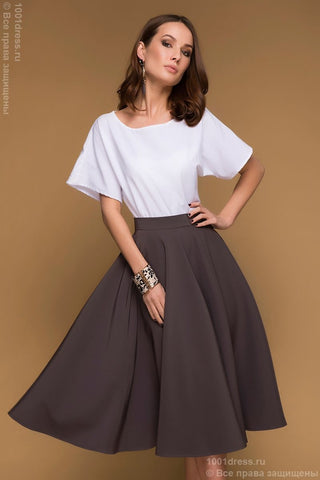 Skirt DM00438MO mocha MIDI length