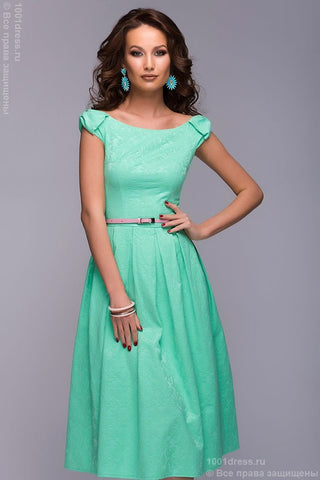 Dress DM00387MN mint color MIDI length with bows on the shoulders