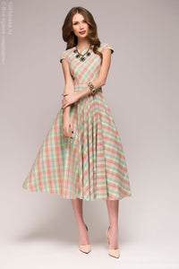 Dress DM00528MN mint color MIDI length plaid short sleeves