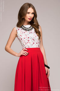 DM00373RD red dress length MIDI with a bright printed top sleeveless