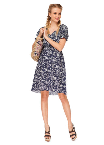 """Charlotte"" Maternity and nursing blue dress with flowers"