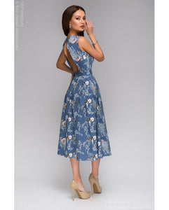DM00405FL blue dress length MIDI floral print and open back