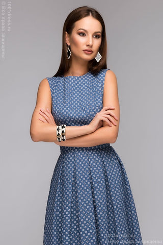 "DM00405BL Dress blue print ""daisies"" MIDI length and open back"