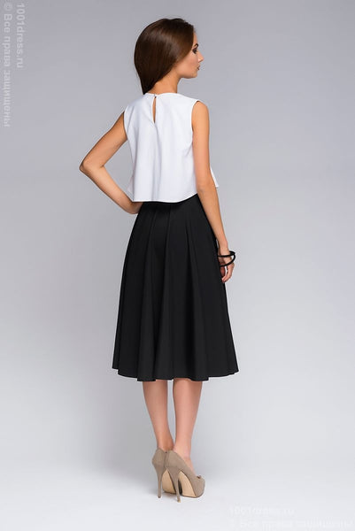 DM00403BK a Set of black MIDI length skirt and white crop top