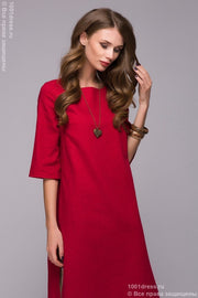 DM00651RD red dress with a boxy fit and a double skirt