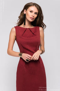 DM00598BO Dress Burgundy sleeveless with pintucks on the neckline