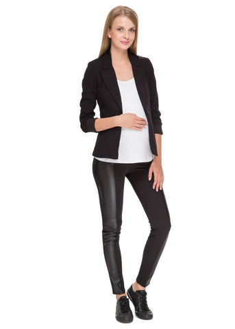"""Toni"" Maternity pants in black with faux leather panels"
