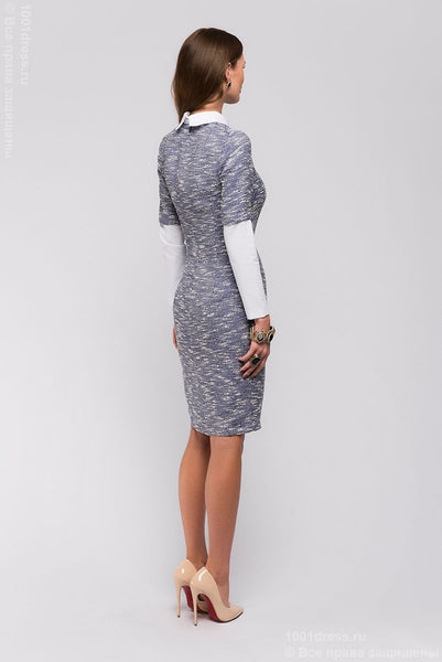 DM00569BL blue dress length mini with long sleeves and white collar