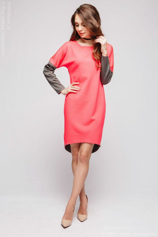 Dress DM00480CG multilevel double-sided coral-gray