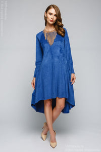 Dress DM00600BL blue tiered dress with long sleeves
