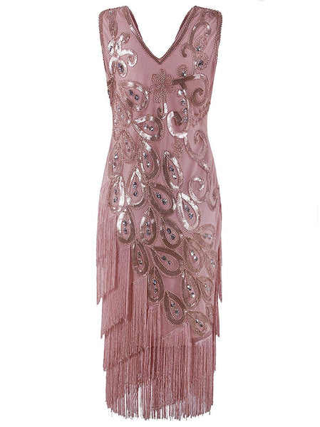 Vintage 1920s Style Peacock Sequin Roaring 20s Gatsby Party Flapper Dress