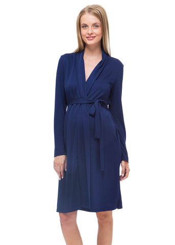 """Veres ' Maternity dark blue dressing gown"