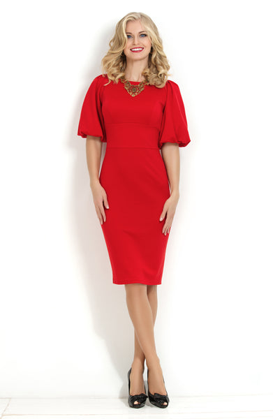 Dress bodycon DSP-169-29 red with a lush sleeve