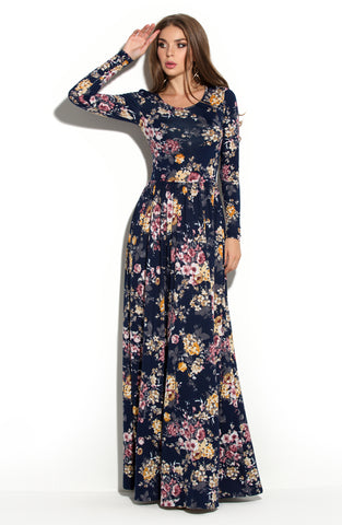 Dress DSP-69-93 length Maxi dark blue with flowers