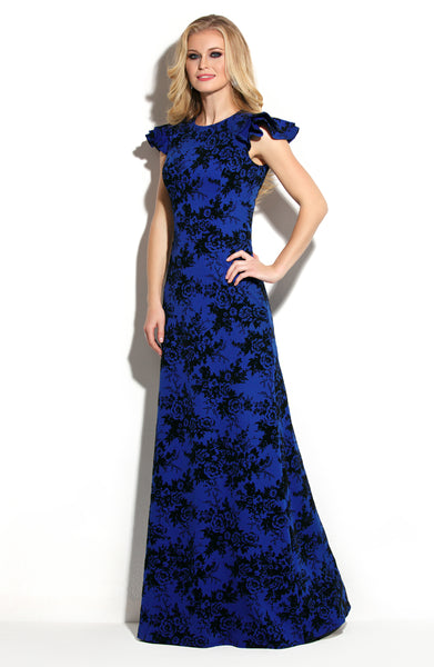 Dress DSP-257-7 Dior blue with flowers Maxi length
