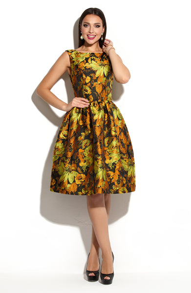 Dress DSP-258-37 cocktail green jacquard pattern gold