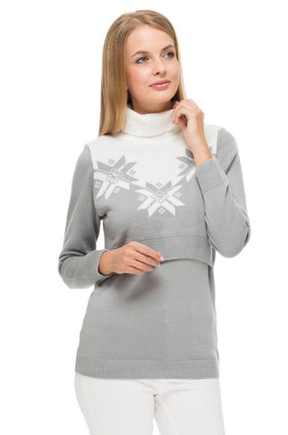 "Jumper ""winter"" Heather grey for maternity and nursing"