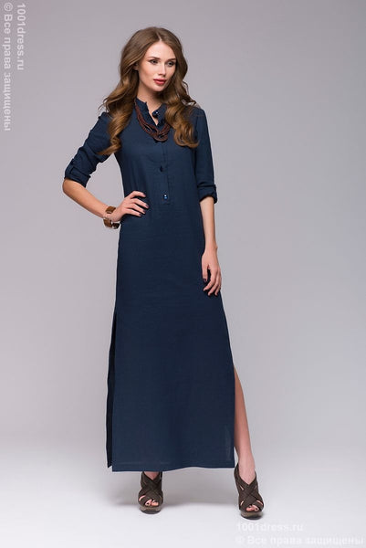 DM00652BL blue dress length Maxi with slits