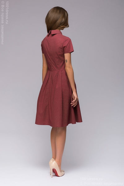 DM00608WE dress Burgundy mini length with a collar and small print
