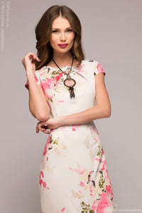 Dress DM00380VA case vanilla with floral print