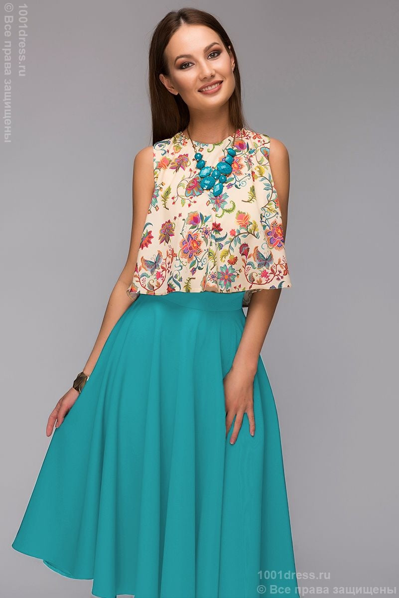 DM00403TE a Set of skirts of Navy blue MIDI length and cropped top with floral print