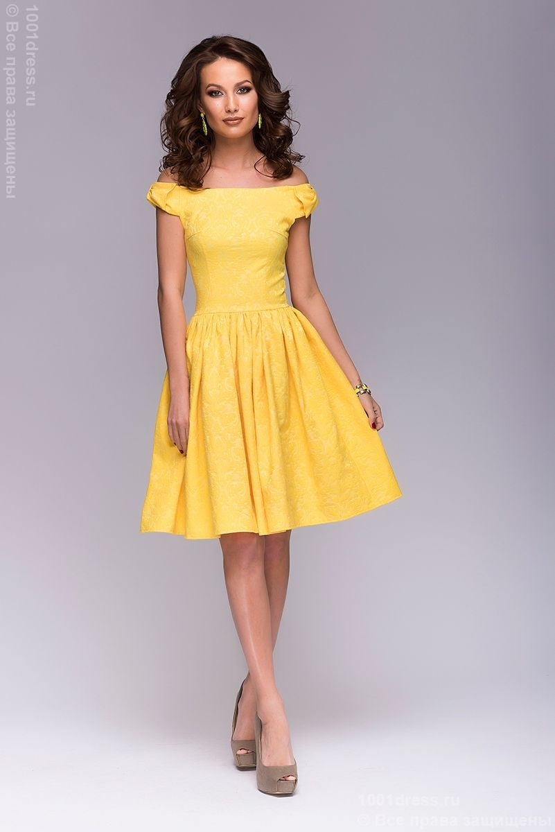 Dress DM00388YL yellow length mini with bows on the shoulders