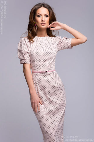 Dress DM00364PK pale pink Swiss dots with short sleeves