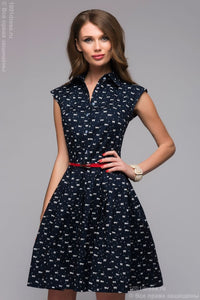 DM00657BL blue dress length mini print cats and turndown collar