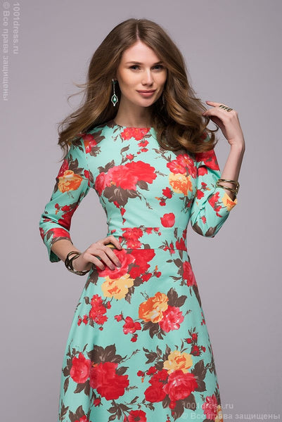 DM00266MF mint dress length Maxi with a floral print and 3/4 sleeve