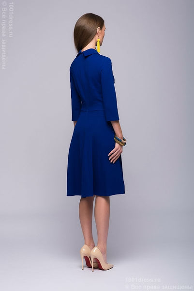 DM00765CO cornflower blue dress length mini with a fold-over collar and inverted pleat on the skirt