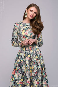 DM00446BL dress MIDI length with floral print and long sleeves