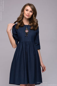 Dress DM00723DB dark blue denim mini length with Raglan sleeves