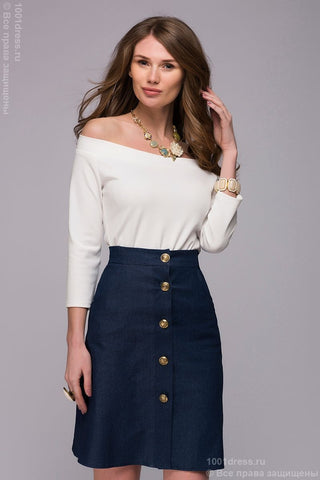 Blouse DM00740VA vanilla color, off-shoulder and 3/4 sleeves