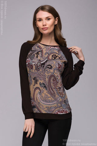 Sweatshirt DM00769BG beige print with dark brown sleeves