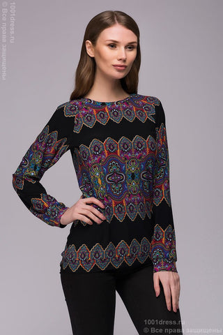 DM00769BK sweatshirt black with Oriental patterns long sleeves