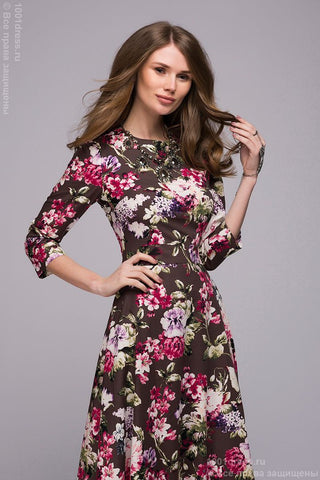 DM00206FC chocolate dress with large floral print