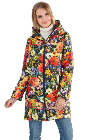 "Demi-season jacket ""Olivia"" red flowers on blue"