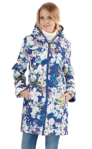 "Demi-season jacket ""Olivia"" white flowers on blue"