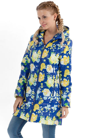 "Demi-season jacket ""Olivia"" yellow flowers on blue"