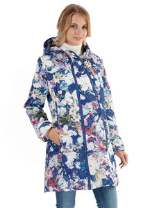 "Jacket demis. 2in1 ""Olivia"" white flowers on blue for pregnant women"