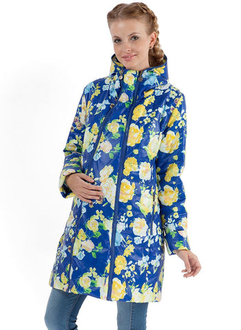 "Jacket demis 2in1 ""Olivia"" yellow flowers on blue for pregnant women"