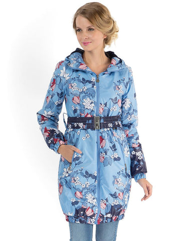 """Simonа"" Demi-Season Coat flowers on blue"
